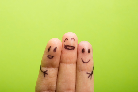 Photo for three smiling fingers that are very happy to be friends, family concept - Royalty Free Image