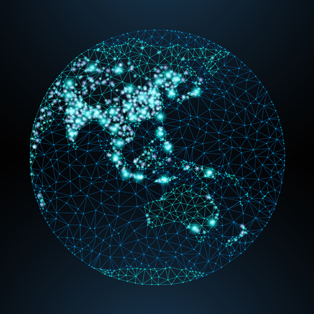 Illustration pour Vector low-poly image of a globe with lights in the form of world cities or population density, consisting points, lines and shapes in form of stars and space. View of Asia. - image libre de droit