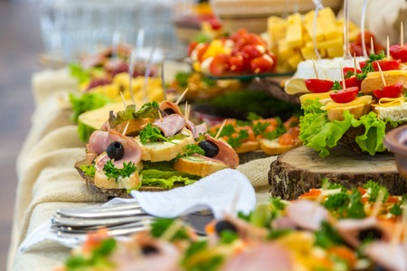 Photo for Banquet Table in restaurant served with different meals. - Royalty Free Image