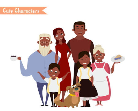 Illustration for Big happy family portrait, Three generations - grandparents, parents and children of different age together Smiling cartoon characters Vector illustration for poster, greeting card, website, ad. - Royalty Free Image
