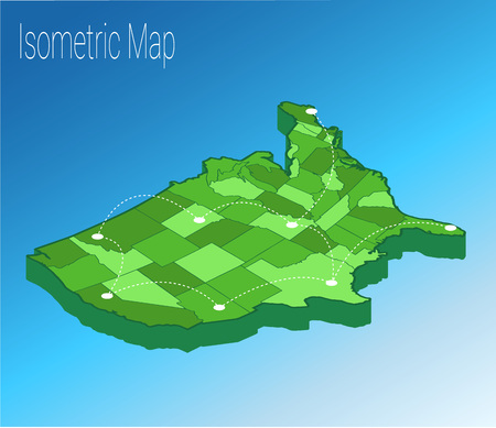 Ilustración de Map USA isometric concept. 3d flat illustration of Map USA. - Imagen libre de derechos