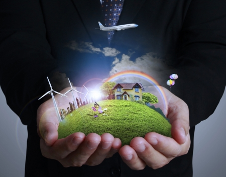 Photo for wind turbine in hand businessman - Royalty Free Image