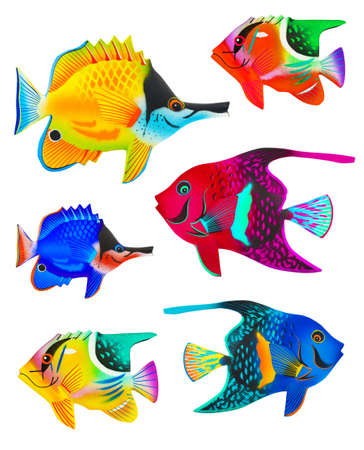 Set of toy fishes isolated on white background