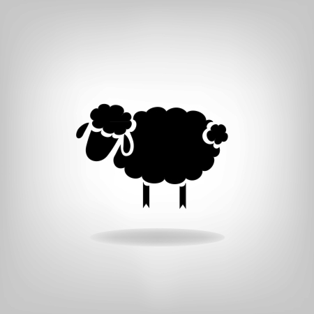 Ilustración de black silhouette of sheep on a light background - Imagen libre de derechos