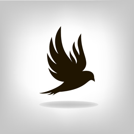 Illustration pour Black bird isolated with outstretched wings - image libre de droit