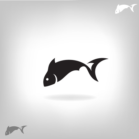 Stylized silhouette of fish light background - vector illustration