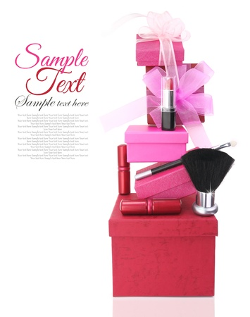 Gift boxes and woman cosmetics