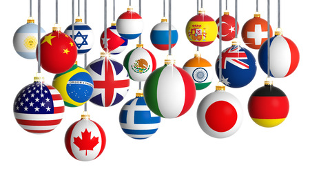 Photo pour Christmas balls with different flags hanging on white background - image libre de droit