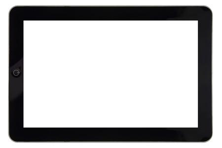 Foto de Closeup of tablet with blank screen for template isolated - Imagen libre de derechos