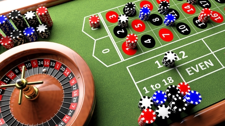 Foto de Casino complete table with roulette and chips, 3d render - Imagen libre de derechos