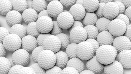 Photo pour Many golf balls together closeup isolated on white  - image libre de droit