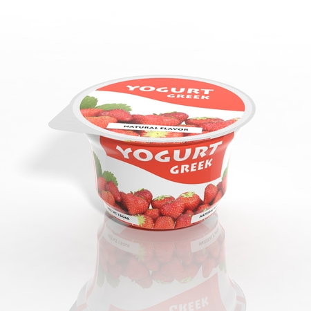 Foto de 3D yogurt plastic container isolated on white - Imagen libre de derechos