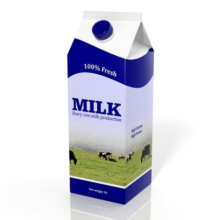 Photo pour 3D milk carton box isolated on white - image libre de droit