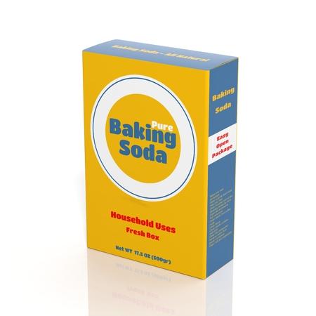 Photo pour 3D Baking Soda paper package isolated on white - image libre de droit