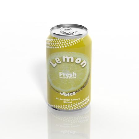Foto de 3D Lemon Soda can isolated on white - Imagen libre de derechos