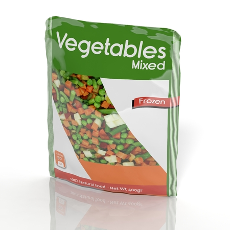 Foto de 3D Frozen Vegetables packet isolated on white - Imagen libre de derechos
