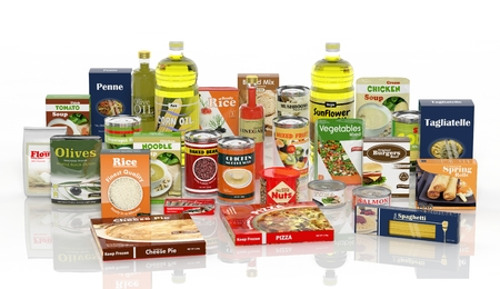 Foto de 3D collection of packaged food isolated on white background - Imagen libre de derechos