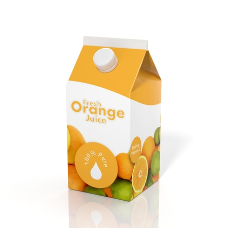 Photo pour 3D orange juice carton box isolated on white background - image libre de droit