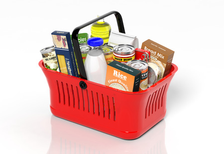 Photo for Shopping hand basket full with products isolated on white - Royalty Free Image