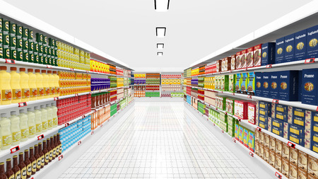 Foto de Supermarket interior with shelves and various products - Imagen libre de derechos