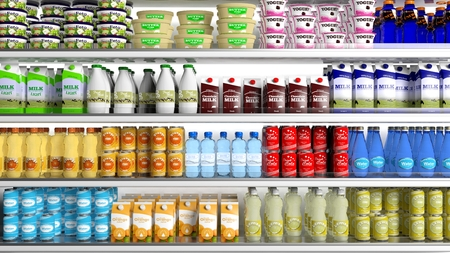 Photo for Supermarket refrigerator with various products - Royalty Free Image