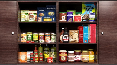 Photo for Wooden kitchen cabinet full of food products - Royalty Free Image