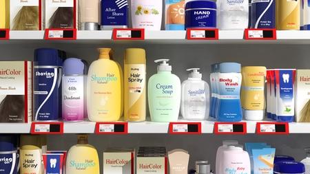 Foto de Supermarket shelves with personal care products - Imagen libre de derechos