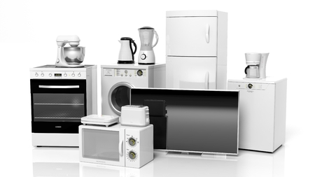Foto de Group of home appliances isolated on white background - Imagen libre de derechos