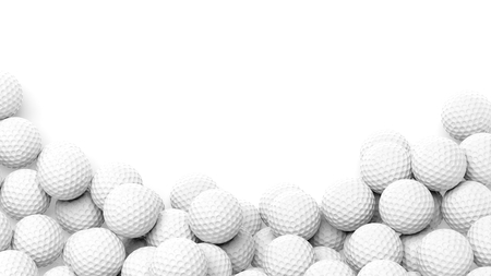 Photo pour Golf balls pile with copy-space isolated on white background - image libre de droit