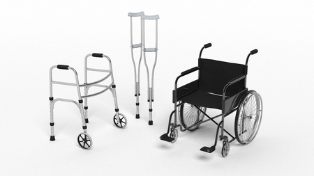 Photo pour Black disability wheelchair, crutch and metallic walker isolated on white - image libre de droit
