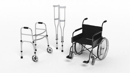 Foto de Black disability wheelchair, crutch and metallic walker isolated on white - Imagen libre de derechos