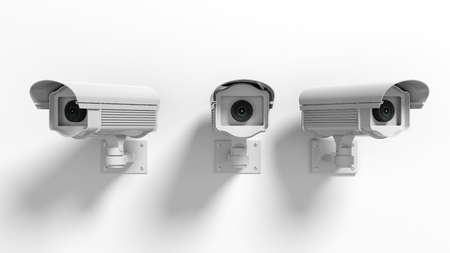 Foto für Three security surveillance cameras isolated on white background - Lizenzfreies Bild