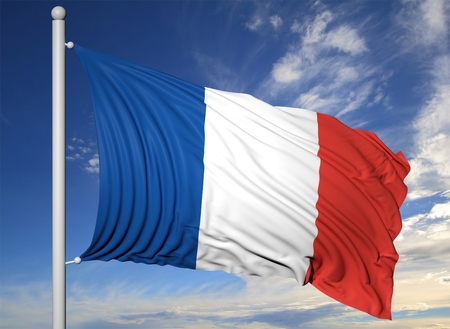 Photo pour Waving flag of France on flagpole, on blue sky background. - image libre de droit