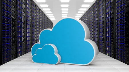 Photo pour Datacenter with two Cloud storage symols - image libre de droit