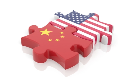 Photo for Jigsaw puzzle pieces, flag of USA and flag of China, isolated on white. - Royalty Free Image