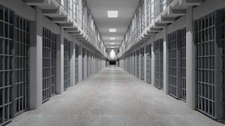 Foto de Rows of prison cells, prison interior. - Imagen libre de derechos
