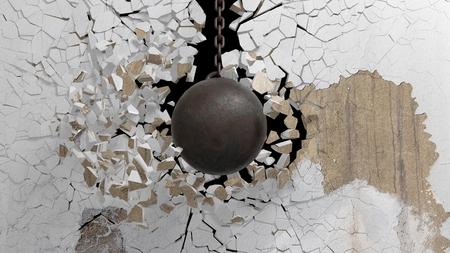 Foto de Metallic rusty wrecking ball on chain shattering  an old wall. 3D rendering - Imagen libre de derechos