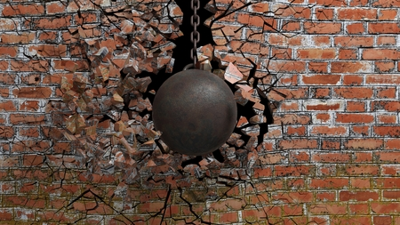 Photo pour Metallic rusty wrecking ball on chain shattering an old brick wall. 3D rendering - image libre de droit