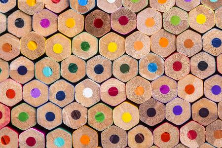 Photo pour Close up macro shot of color pencils pile - image libre de droit