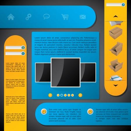 Website template design with labels on dark background