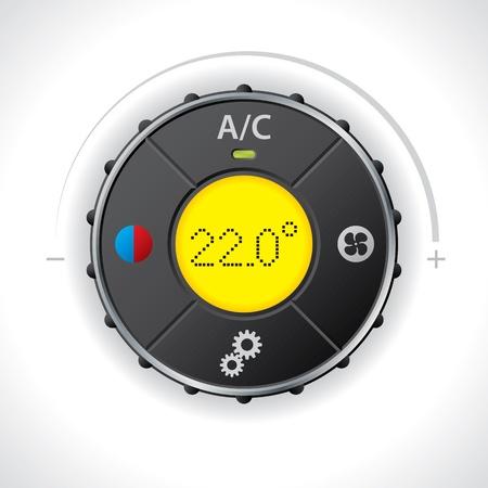 Illustration pour Air condition gauge with bright yellow led - image libre de droit