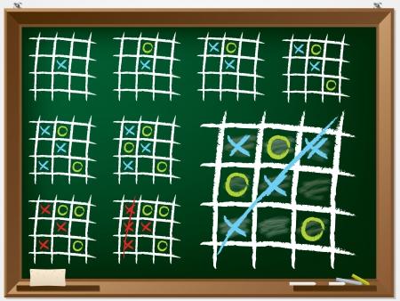 Tic tac toe variations drawn on chalkboard
