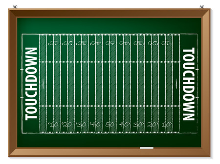 American football field drawn by hand on chalkboard mural