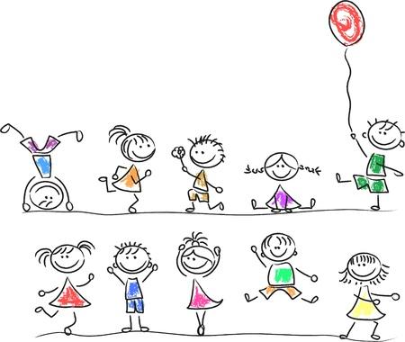Illustration pour Cute happy kids - image libre de droit
