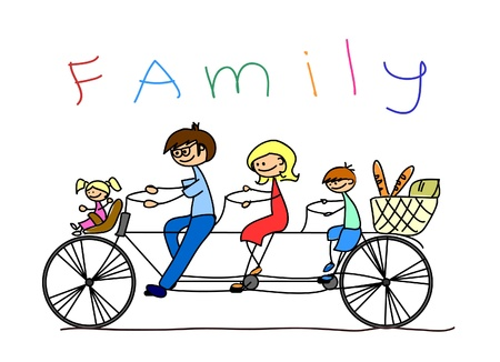 Photo for child's drawing of the family on a bicycle, vector  - Royalty Free Image