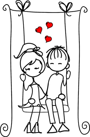 Valentine doodle boy and girl