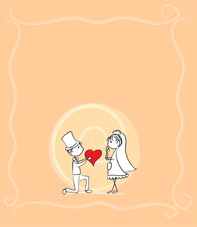 Illustration for the bride and groom at a wedding, the vector  - Royalty Free Image