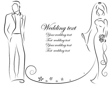 Photo pour Silhouette of bride and groom, background - image libre de droit
