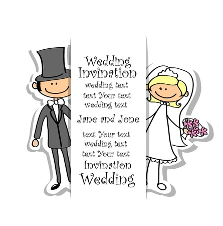 Photo pour Cartoon wedding picture  - image libre de droit