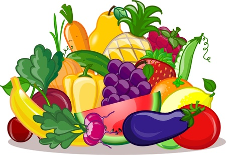 Foto für Vegetables and fruits, vector background  - Lizenzfreies Bild